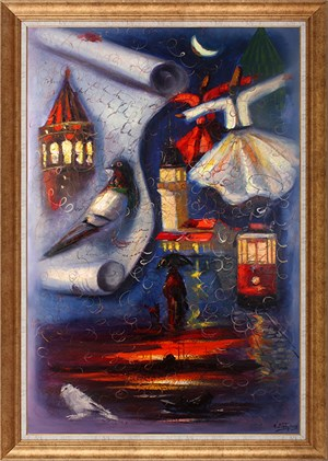 My Love İstanbul Whirling Dervish | Whirling Dervish Oil Painting