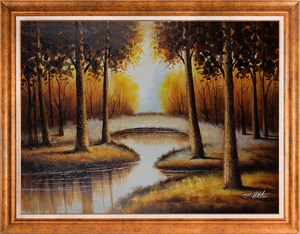 Bridge Over the Pond | Landscape Oil Painting