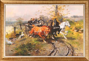 Villagers in Horse Cart | Oil Painting