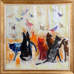 Butterflies and Cats | Animal Oil Painting