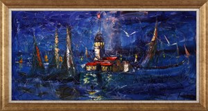 Magic of Night and Maiden Tower | İstanbul Oil Painting