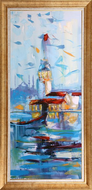 Fisherman and Maiden Tower | İstanbul Oil Painting