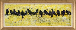 Birds on The Wire | Bird Oil Painting
