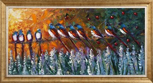 Birds in Garden | Oil Painting