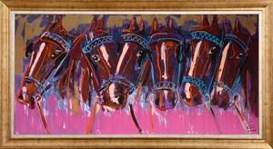 Pink Horses | Animal Oil Painting