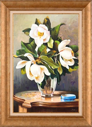 White Roses in Glass Vase | Oil Painting