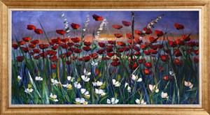 Red Veil Poppies-2 | Flower Oil Painting