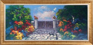 Colorful Garden of Wood Door | Landscape Oil Painting