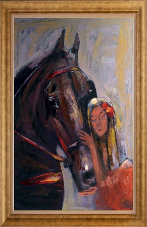 Bond Between Horse and Woman | Figurative Oil Painting