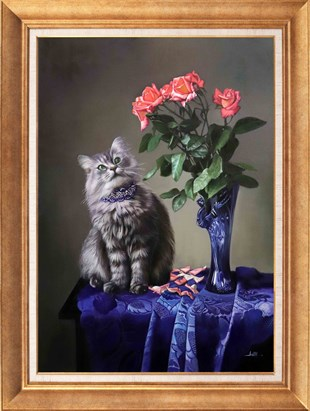 Roses and Cat | Oil Painting